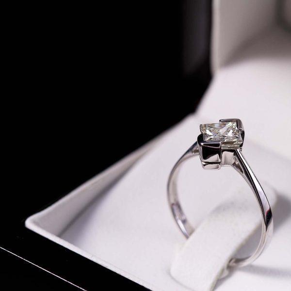 Eljegyzési princess gyémánt gyűrű 1 ct