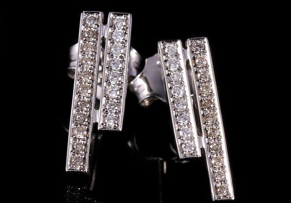 Gyémánt csík fehér arany fülbevaló 0.215