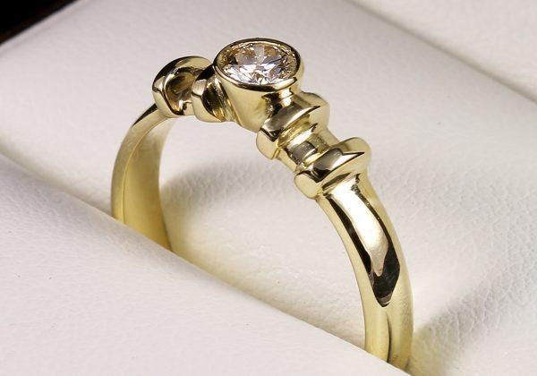 eljegyzési gyűrű, arany gyűrű, eljegyzési gyémánt gyűrű, Eljegyzési gyémánt gyűrű 0.203 ct