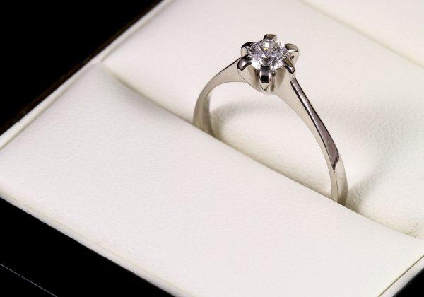 Fehér arany eljegyzési gyémánt gyűrű 0.33 ct
