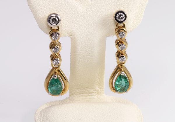 Smaragd gyémánt fülbevaló 0.782
