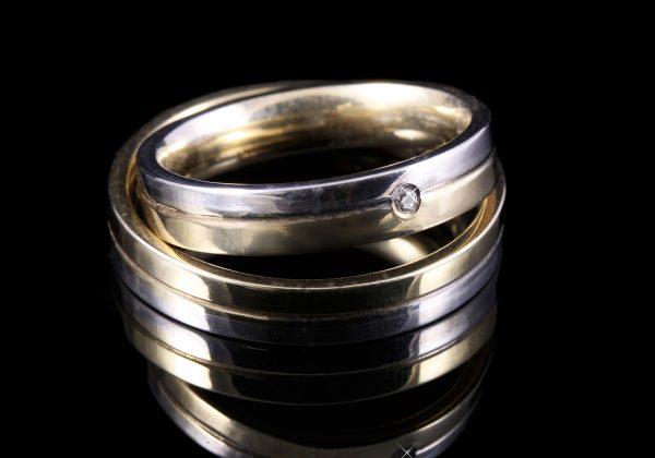 Bicolor gyémánt karikagyűrű 0.02 ct