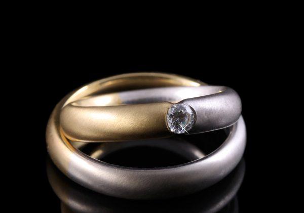 bicolor gyémánt karikagyűrű 0.1