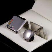 Premium ezüst mandzsetta gomb 0.27 ct