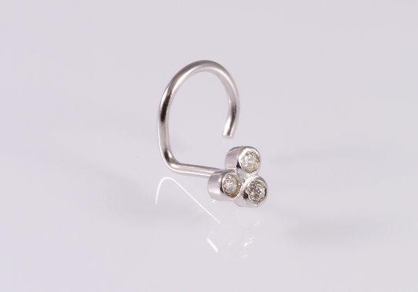 3 gyémántköves arany orr piercing 0.03