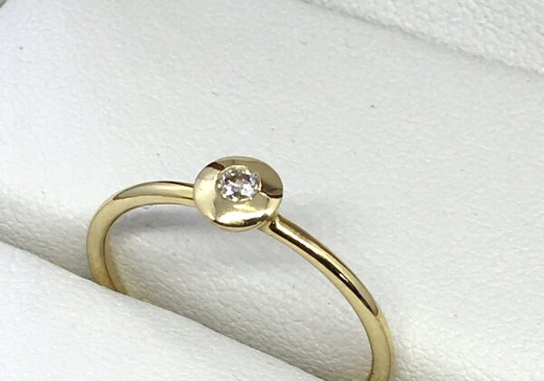 Sárga arany eljegyzési gyémánt gyűrű 0.051