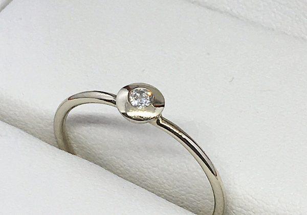 Fehér arany eljegyzési gyémánt gyűrű 0.045