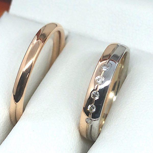 Rozé és fehér arany karikagyűrű 0.075 ct