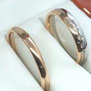 Rozé és fehér arany karikagyűrű 0.075 ct b