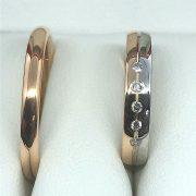 Rozé és fehér arany karikagyűrű 0.075 ct c