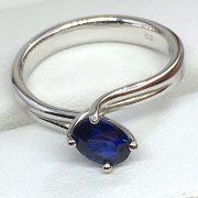 Eljegyzési fehér arany zafír gyűrű 1.13ct c