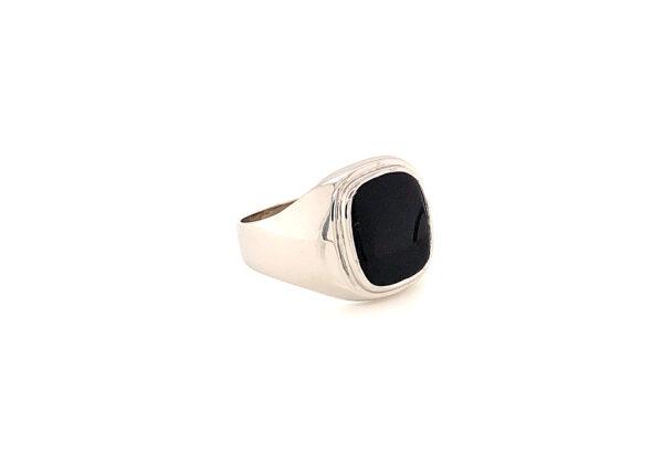 Férfi onyx fehér arany pecsétgyűrű