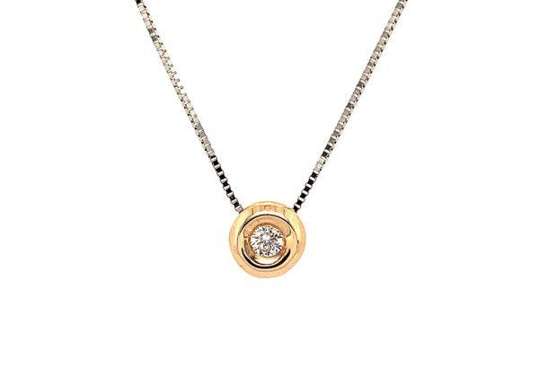Rosé arany button csúszka gyémánt medál