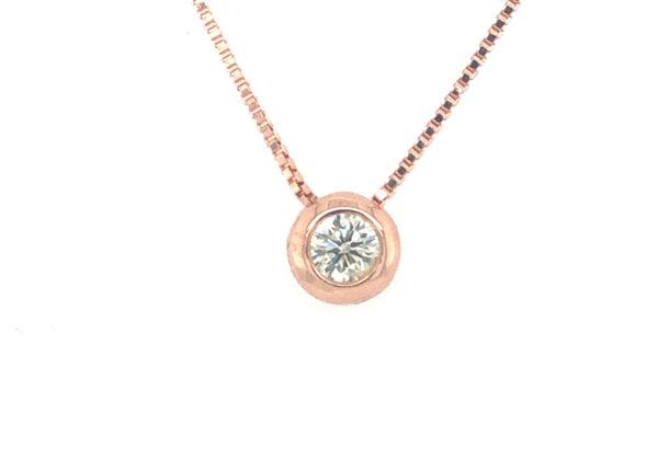 Rozé arany buton csúszka gyémánt medál lánccal 0.121ct